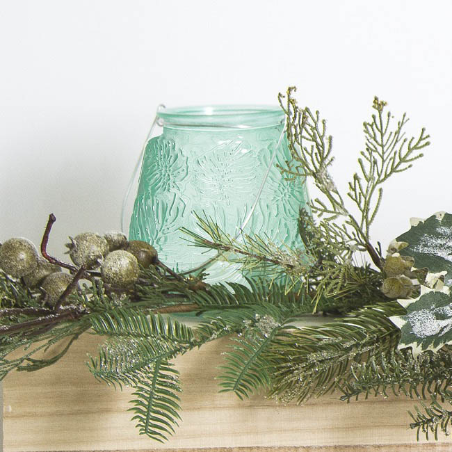 Recycled Style & Coloured Vases - Glass Leaf Pattern Jar with Handle Coastal Aqua (8.5x13cmH)