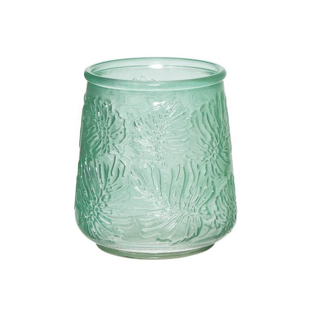 Recycled Style & Coloured Vases - Glass Philo Leaf Posy Vase Tropical Green 10.5x13.5cmH