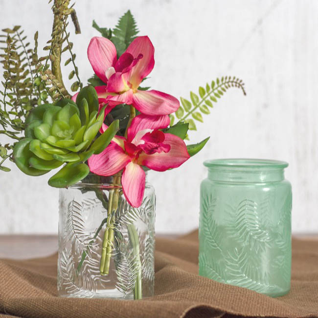 Recycled Style & Coloured Vases - Glass Leaf Pattern Cylinder Clear (9.5x13.5cmH)