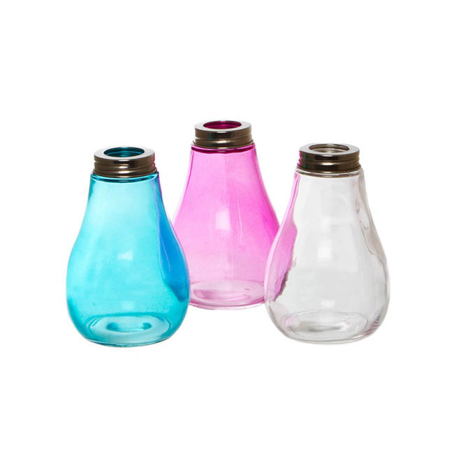 Glass Light Bulb Set of 3 Assorted Colours (9Dx13cmH)