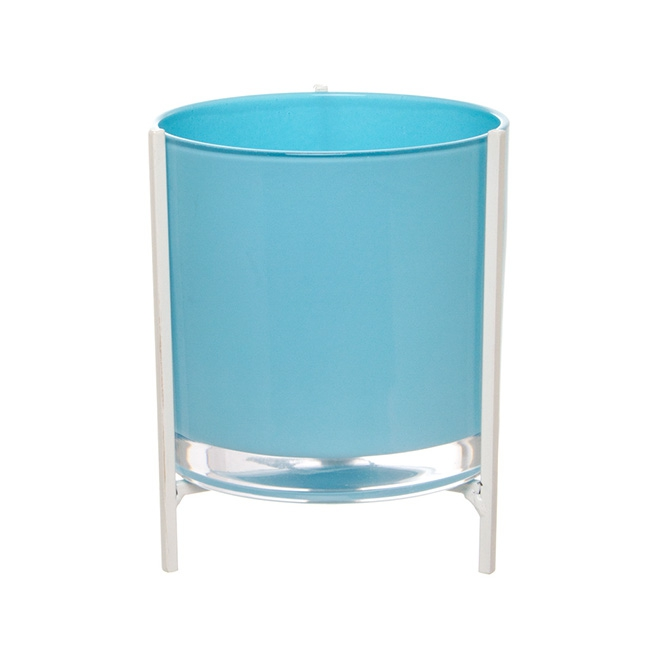 Glass Cylinder Flower Vase with Stand Blue (15Dx20cmH)
