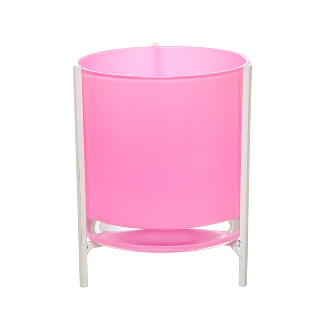 Glass Cylinder Flower Vase with Stand Pink (15Dx20cmH)