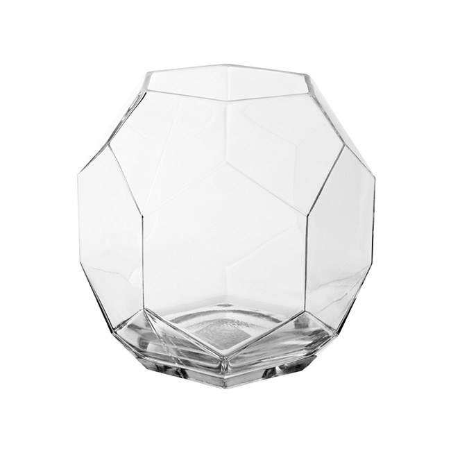 Geometric glass fish bowl large clear 23cmdx22cmh for Large glass fish bowl