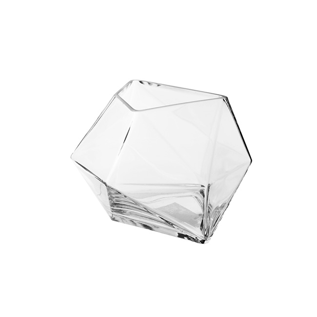 Geometric Glass Vase Abstract Clear (19x14cmH)
