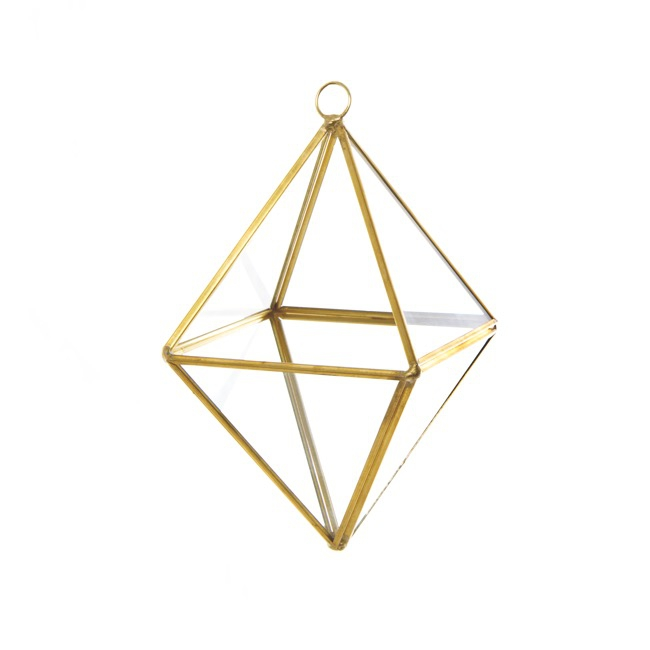 Glass Geometric Terrarium Diamond Gold (17x12x9.5cmH)