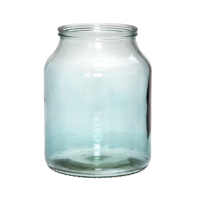 Recycled Style & Coloured Vases - Glass Harper Squat Dome Vase Large Dawn Blue (16x21cmH)