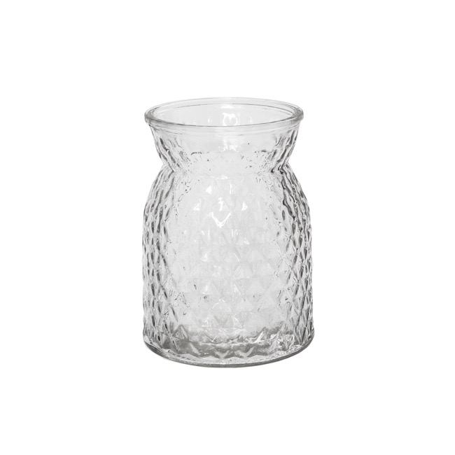 Recycled Style Glass Vases - Glass Ann Posy Bottle Clear (12x16cmH)