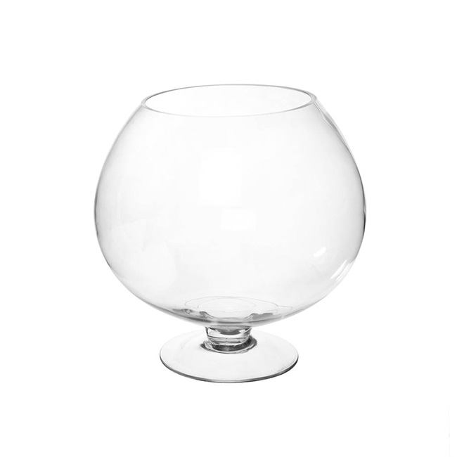 Glass Fish Bowl Vase Footed Clear (20.2Dx30cmH)