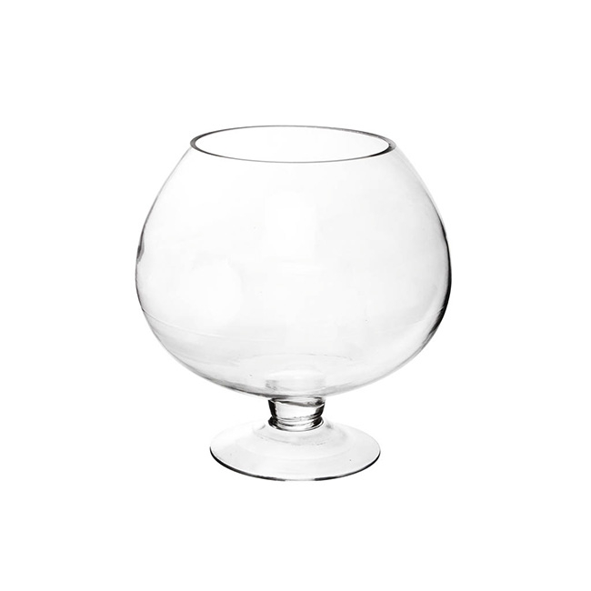 Glass Fish Bowl Vase Footed Clear (13.5Dx22cmH)