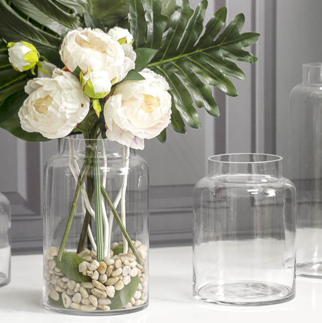 Assorted Flower Vases - Glass Dimi Squat Dome Vase (13TDx18BDx25cmH) Clear