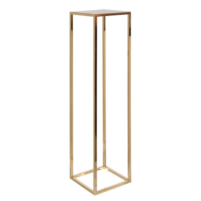 Wedding Centrepieces - Square Metal Centrepiece Flower Stand Gold (25x25x96cmH)