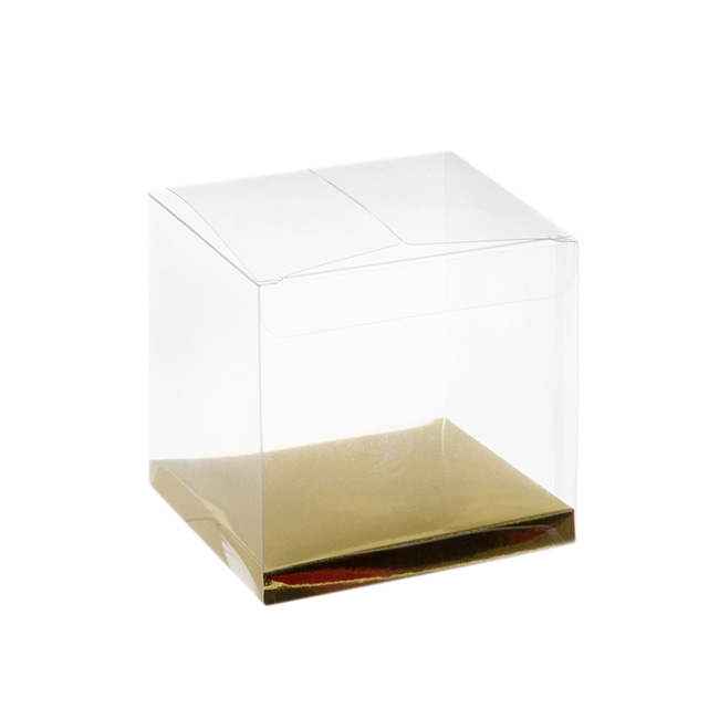 Patisserie & Cake Boxes - Cupcake Box Clear with Base 25mic Gold (80x80x80mm) Pack 10