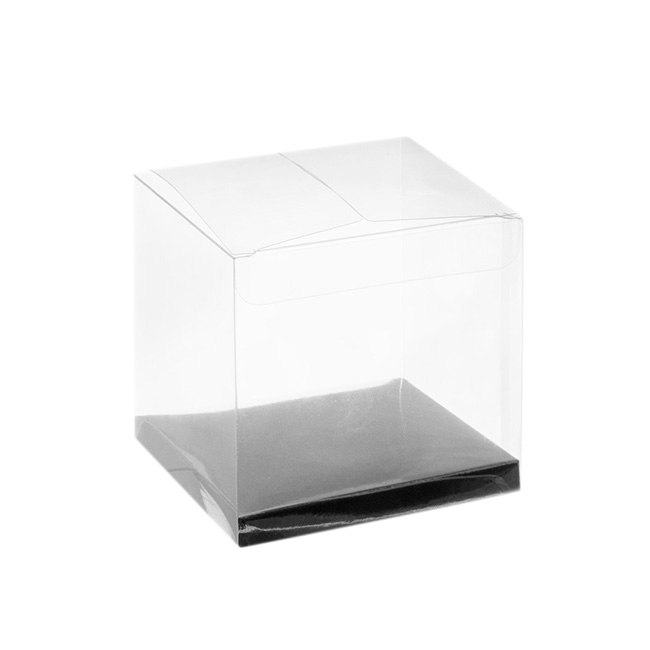 Patisserie & Cake Boxes - Cupcake Box Clear with Base 25mic Silver (80x80x80mm)Pack 10