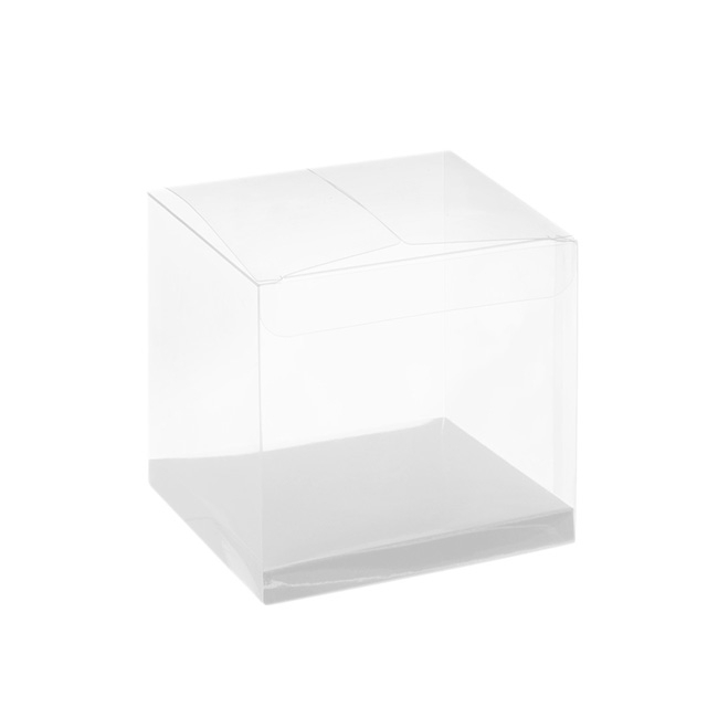 Patisserie & Cake Boxes - Cupcake Box Clear with Base 25mic White (80x80x80mm) Pack 10