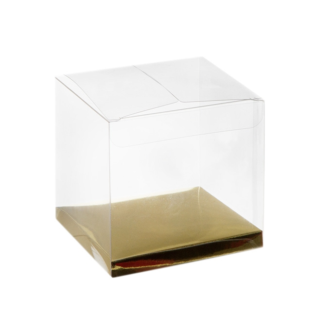 Patisserie & Cake Boxes - Cupcake Box Clear with Base 30mic Gold (90x90x90mm) Pack 10