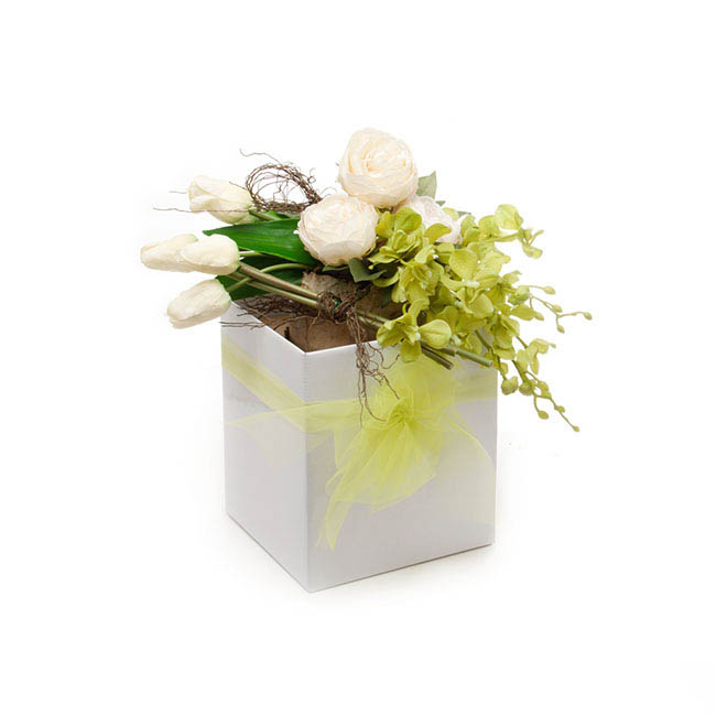 Posie Flower Box Large - Gift Box Tall Flat Pack White (22x22x25cmH)