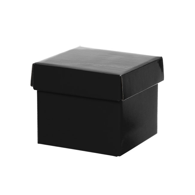Gift Box with Lid Mini Flat Pack Gloss Black (13x12cmH)