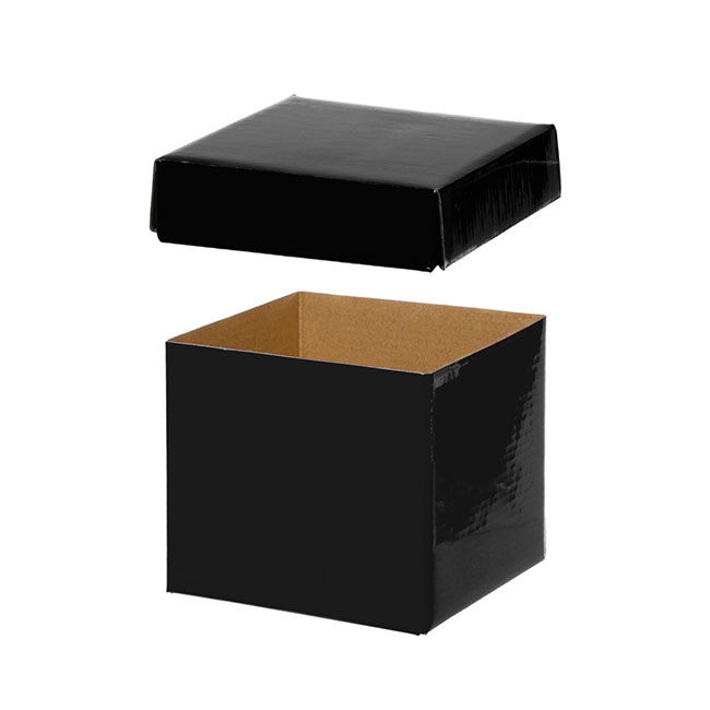 Gift Box and Lid - Gift Box with Lid Mini Flat Pack Gloss Black (13x12cmH)