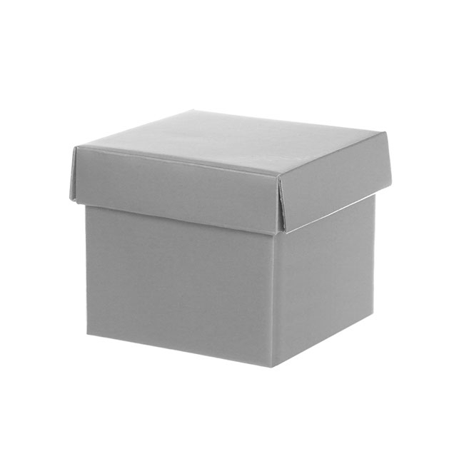 Gift Box with Lid Mini Flat Pack Gloss Silver (13x12cmH)