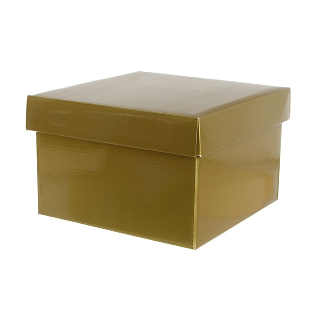 Gift Box with Lid Large Flat Pack Gloss Gold (22x14cmH)