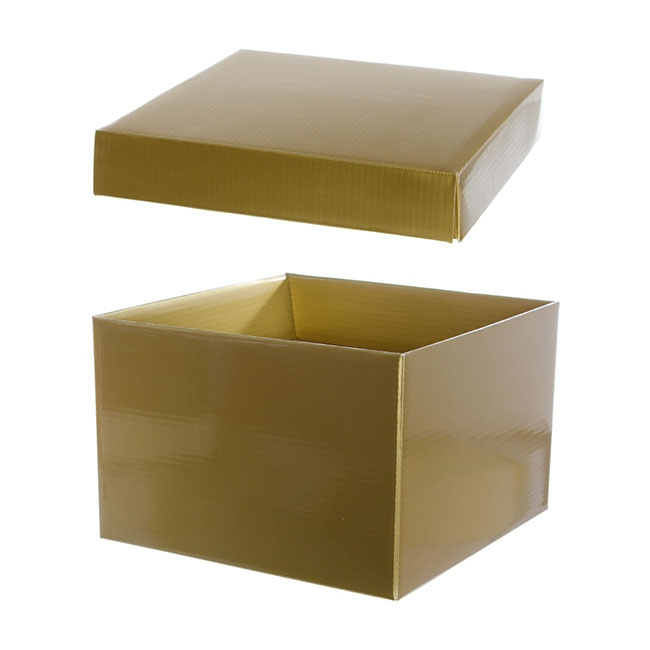 Gift Box with Lid Large Flat Pack Gloss Gold (22x14cmH) - 1493L103SGO