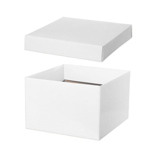 Gift Box and Lid - Gift Box with Lid Large Flat Pack Gloss White (22x14cmH)