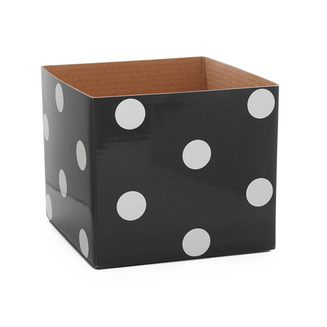 Polka Dots Gloss Mini Posy Box Black (13x12cmH)