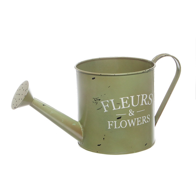 Tin Watering Can Jardinier 13.5x13.5cmH Moss
