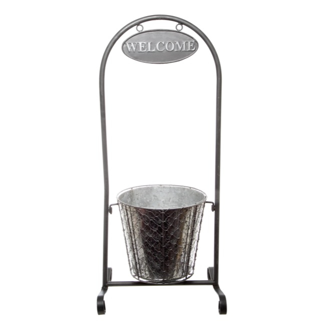 Metal Decor Welcome Stand with Tin Pot (32x24x75cmH)