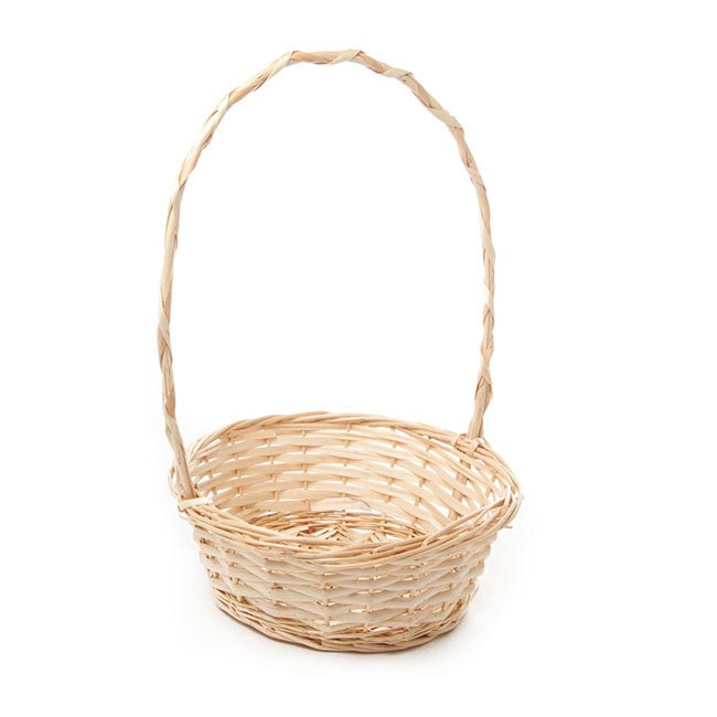 Baskets with Handles - Willow Basket with Handle Round Natural (24x9cmH)
