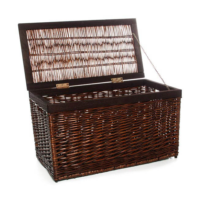 Storage Baskets & Boxes - Large Hinged Rectangle Chest Dark Brown (59x30x33cmH)