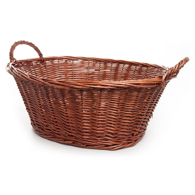 Storage Baskets & Boxes - Willow Laundry Basket Oval Dark Brown (59x43x24cmH)