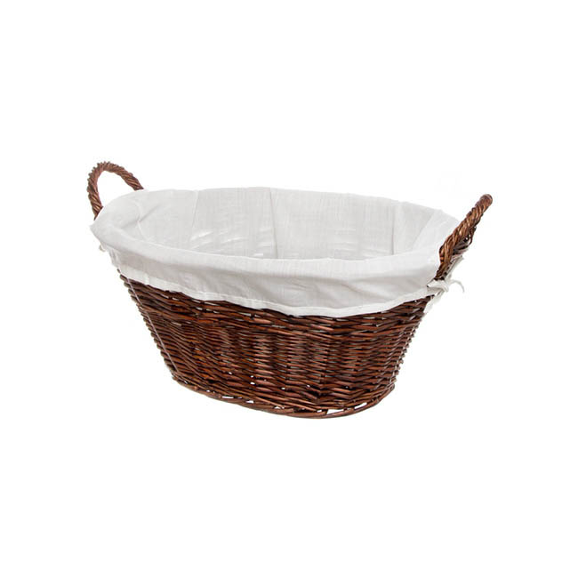 Storage Baskets & Boxes - Willow Laundry Oval with Fabric Liner Dark Brown (48x34x22cm