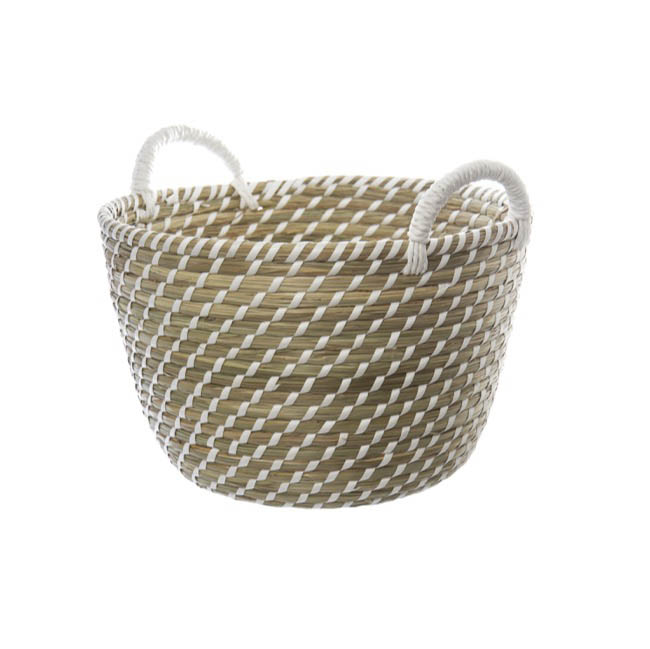 Hamper Tray & Gift Basket - Palau Seagrass Basket Round White & Natural (31Dx22cmH)