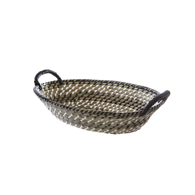 Hamper Tray & Gift Basket - Palau Seagrass Basket Oval Black & White (37x27x11cmH)