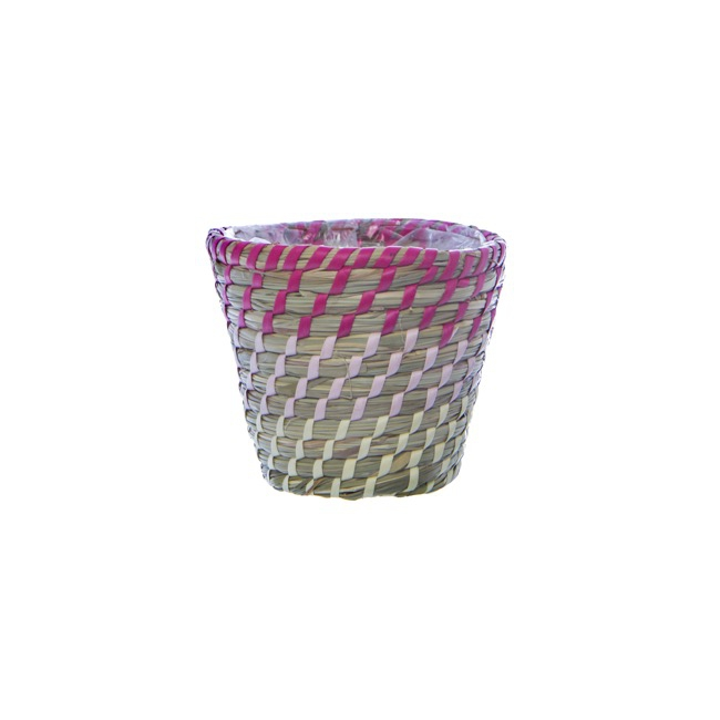 Flower Planter Pots - Palau Seagrass Woven Pot Ombre Pink (14Dx12cmH)