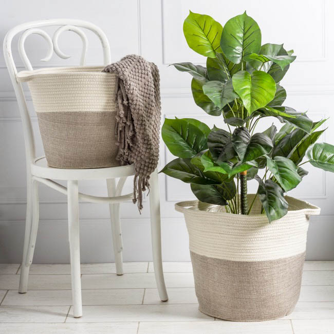 Flower Planter Pots - Phuket Woven Planter White & Grey (37Dx33cmH)