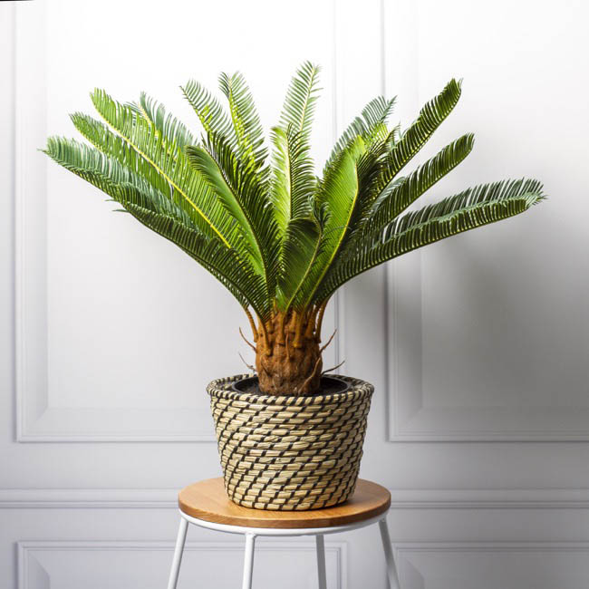 Flower Planter Pots - Palau Seagrass Woven Planter Natural & Black (20.5Dx15cmH)