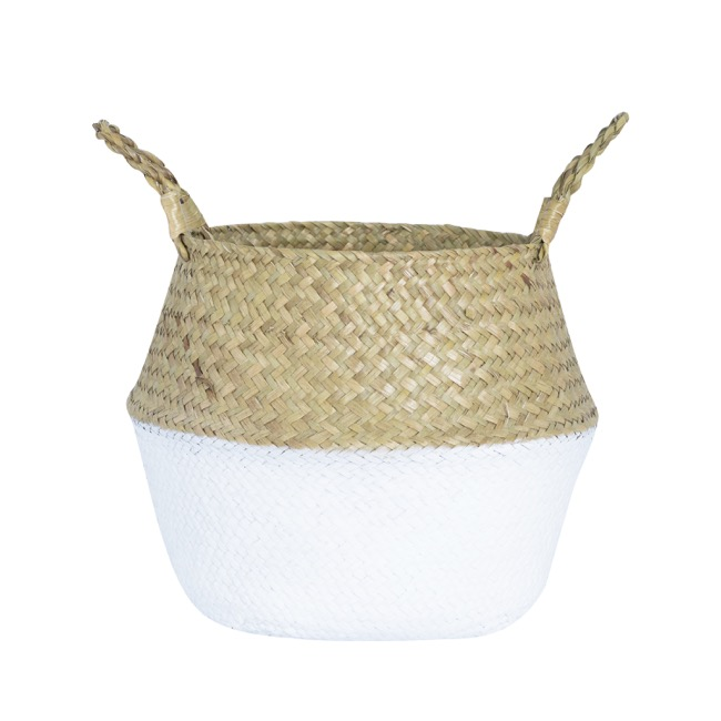 Flower Planter Pots - Tonga Seagrass Planter Basket Natural & White (31Dx28cmH)