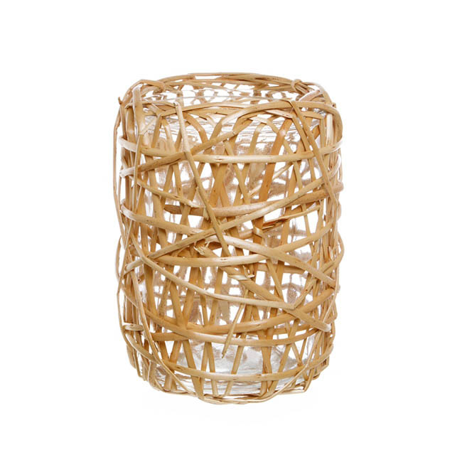 Willow Planter with Glass Pot Round  Natural (14cmDx19cmH)