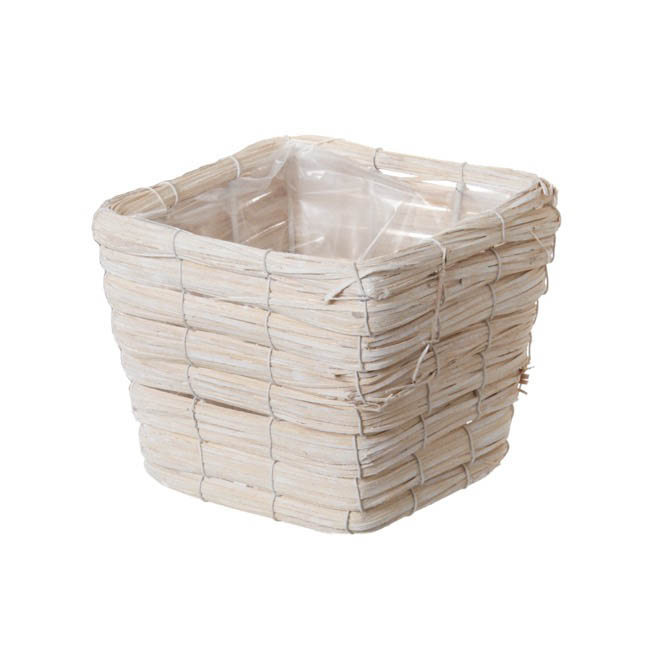 Planter Basket Whitewash (15cmDx14cmH)