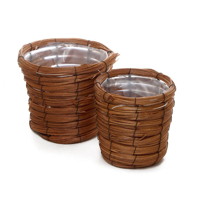 Flower Planter Pots - Planter Basket Round Set of 2 Natural (18cmDx15cmH)