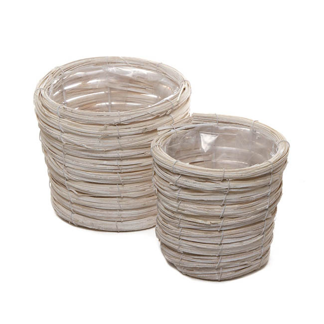 Flower Planter Pots - Planter Basket Round Set of 2 Whitewash (18cmDx15cmH)