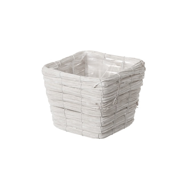 Planter Basket Square Whitewash (16x16x12cmH)