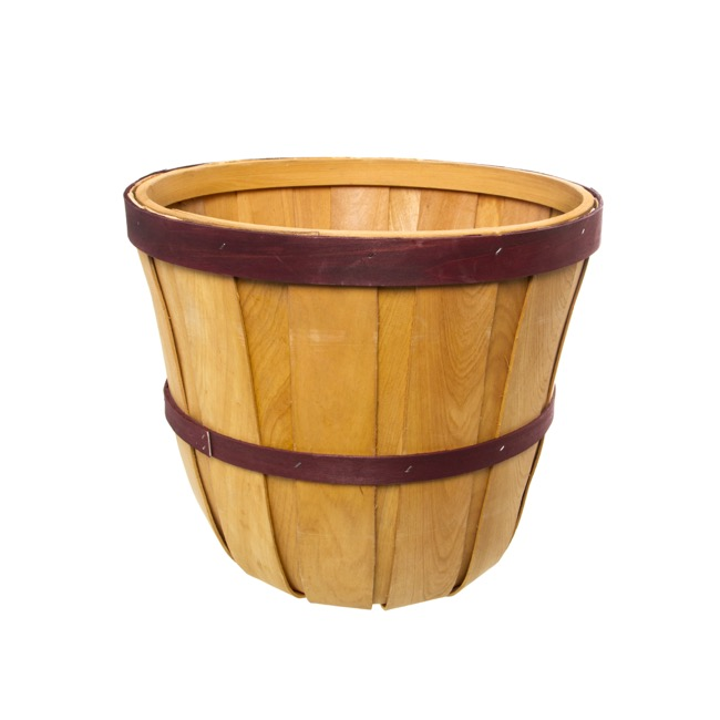 Hamper Tray & Gift Basket - Two Tone Hamper Barrel Large Natural & Red (35cmDx30cmH)