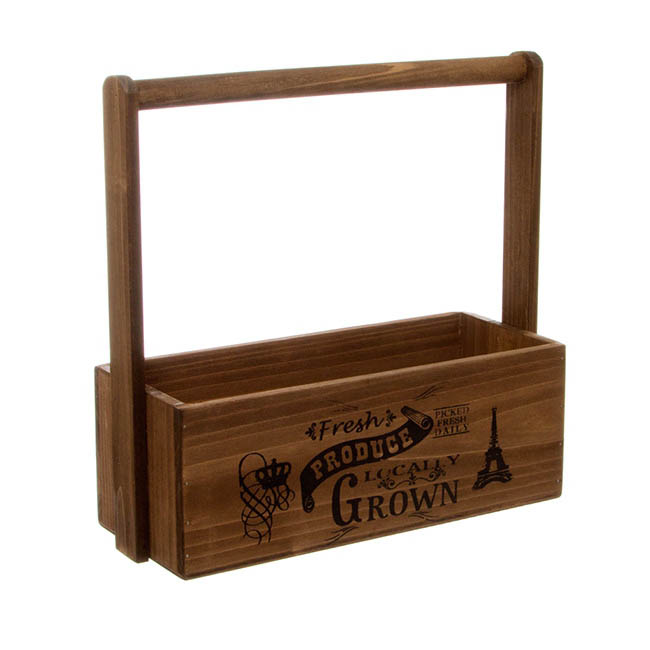 Wooden Planters Pot Covers - Fresh Produce Wooden Carry Tote Brown (27x11.5x10.5cmH/28)