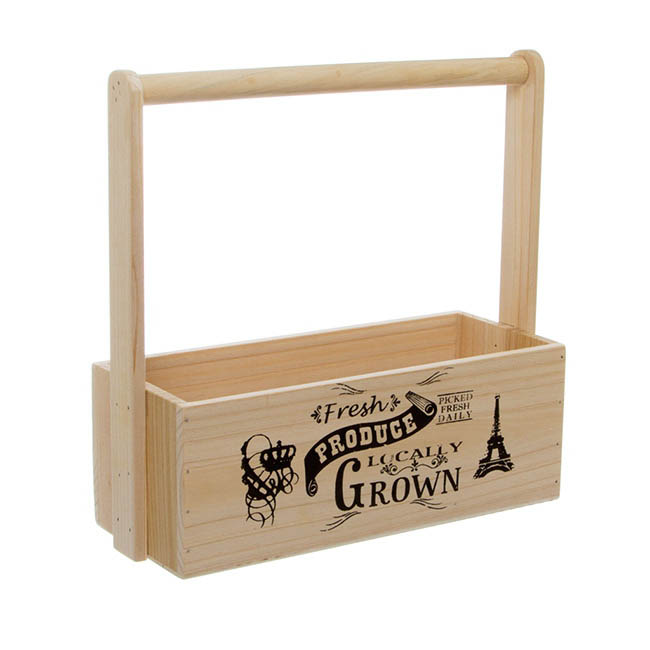 Wooden Planters Pot Covers - Wooden Carry Tote Fresh Produce Natural (27x11.5x10.5cmH/28)