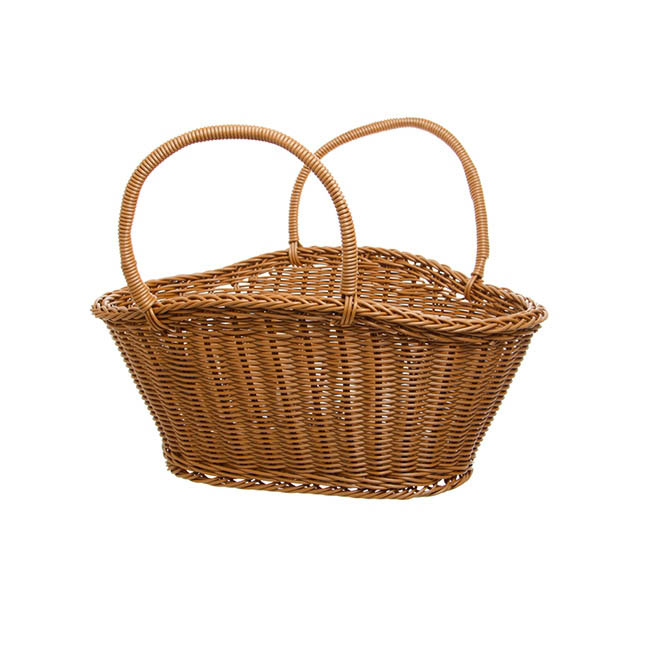 Basket with Handles Natural (38x27x17cmH)