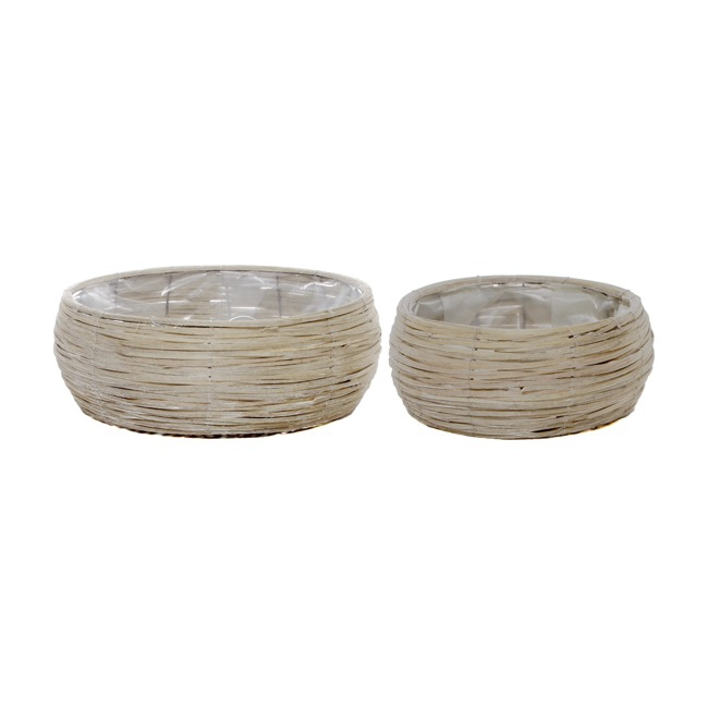 Wicker Planter Round Set of 2 Grey Wash (41cmDx14cmH)