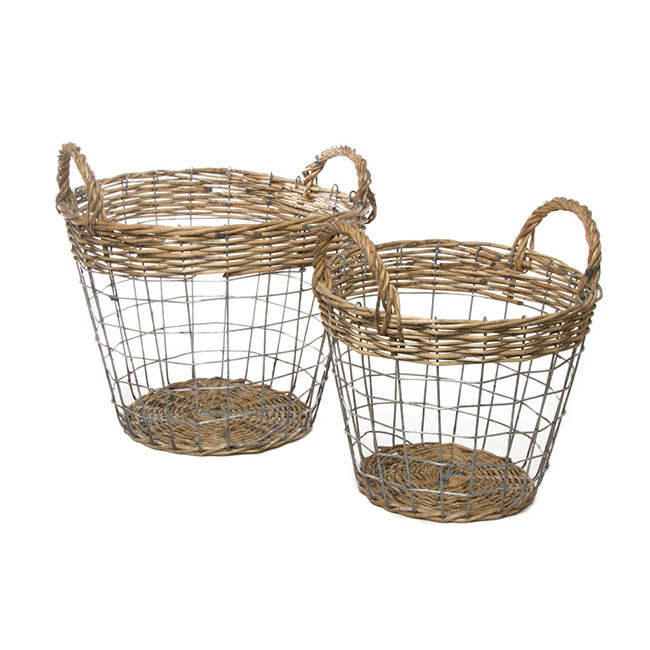 Premium Wire Storage Basket Set of 2 Brown (33x27cmH)